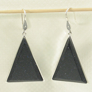 Solid Sterling Silver Hook Triangle Blue Sandstone Drop Dangle Earrings