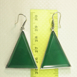 Solid Sterling Silver Hook Triangle Shaped Green Agate Drop Dangle Earrings