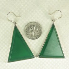 Load image into Gallery viewer, Solid Sterling Silver Hook Triangle Shaped Green Agate Drop Dangle Earrings