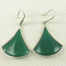 Load image into Gallery viewer, Unique Design Green Agate Solid Sterling Silver Hook Drop Dangle Earrings