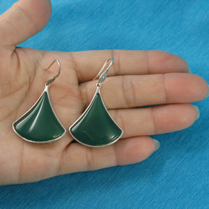 Unique Design Green Agate Solid Sterling Silver Hook Drop Dangle Earrings