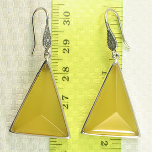 Solid Sterling Silver Hook Triangle Yellow Agate Drop Dangle Earrings