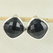 Load image into Gallery viewer, Solid Sterling Silver Omega Back Antique Cushion Cut Blue Sandstone Earrings
