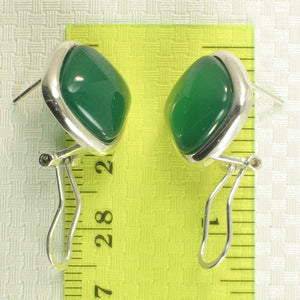 Solid Sterling Silver Omega Back Square Shaped Green Agate Earrings