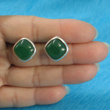 Load image into Gallery viewer, Solid Sterling Silver Omega Back Square Shaped Green Agate Earrings