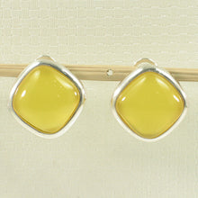 Load image into Gallery viewer, Square Shaped Yellow Agate Solid Sterling Silver Omega Back Earrings