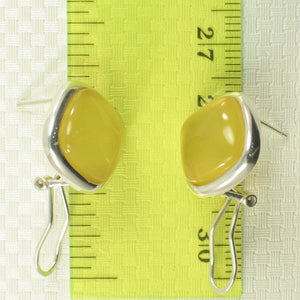 Square Shaped Yellow Agate Solid Sterling Silver Omega Back Earrings