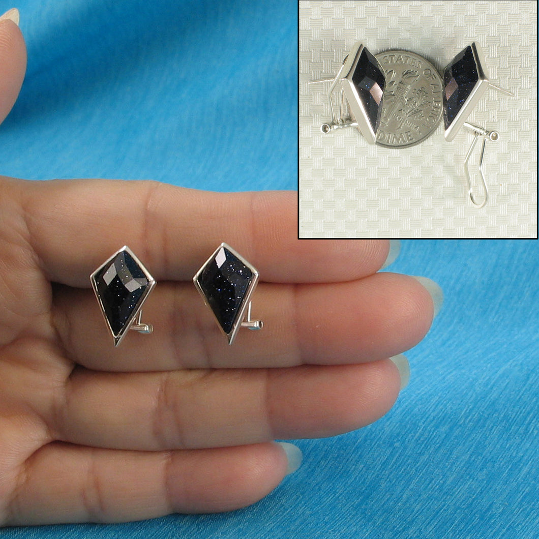 Solid Sterling Silver Omega Back Diamond Shaped Blue Sandstone Earrings