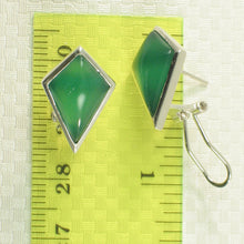 Load image into Gallery viewer, Diamond Shaped Green Agate Solid Sterling Silver Omega Back Earrings