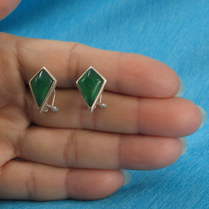 Diamond Shaped Green Agate Solid Sterling Silver Omega Back Earrings