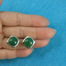 Load image into Gallery viewer, Dome Shaped Green Agate Solid Sterling Silver Omega Back Earrings