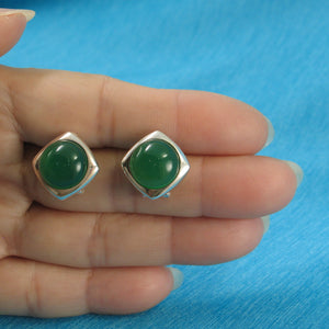 Dome Shaped Green Agate Solid Sterling Silver Omega Back Earrings