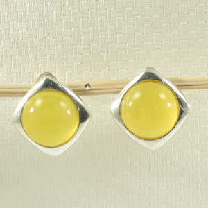 Solid Sterling Silver .925 Dome Shaped Yellow Agate Omega Back Earrings