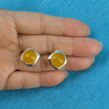 Load image into Gallery viewer, Solid Sterling Silver .925 Dome Shaped Yellow Agate Omega Back Earrings