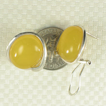 Load image into Gallery viewer, Oval Shaped Yellow Agate Solid Sterling Silver Omega Back Earrings