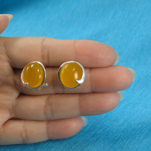 Oval Shaped Yellow Agate Solid Sterling Silver Omega Back Earrings