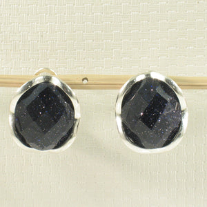 Solid Sterling Silver Omega Back Oval Shaped Blue Sandstone Earrings