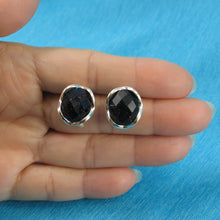 Load image into Gallery viewer, Solid Sterling Silver Omega Back Oval Shaped Blue Sandstone Earrings