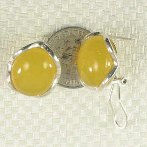 Solid Sterling Silver Omega Back Oval Shaped Yellow Agate Earrings