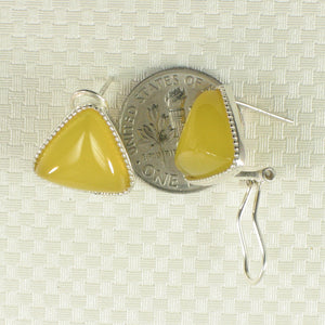 Triangle Shaped Yellow Agate Solid Sterling Silver Omega Back Earrings