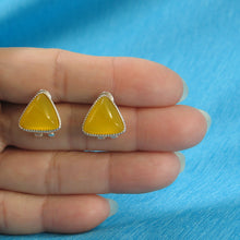Load image into Gallery viewer, Triangle Shaped Yellow Agate Solid Sterling Silver Omega Back Earrings