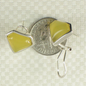 Diamond Shaped Yellow Agate Solid Sterling Silver Omega Back Earrings