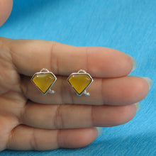 Load image into Gallery viewer, Diamond Shaped Yellow Agate Solid Sterling Silver Omega Back Earrings