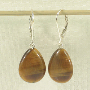 Solid Silver .925 Lever-back Drop Genuine Brown Tiger-Eye Dangle Earrings