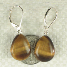 Load image into Gallery viewer, Solid Silver .925 Lever-back Drop Genuine Brown Tiger-Eye Dangle Earrings