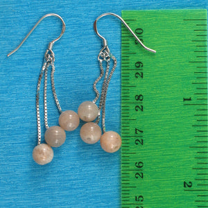 Solid Silver 925 Box Chain Hook 6mm Genuine Moon Stone Dangle Earrings