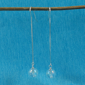 Solid Silver 925 Box Chain Hook 8mm Genuine Crystal Dangle Earrings