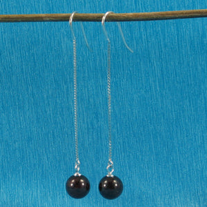 Solid Silver 925 Box Chain Hook 8mm Genuine Garnet Dangle Earrings