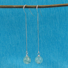 Load image into Gallery viewer, Solid Silver 925 Box Chain Hook 8mm Genuine Prehnite Dangle Earrings