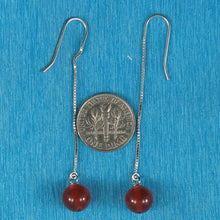 Load image into Gallery viewer, Solid Silver 925 Box Chain Hook 8mm Genuine Carnelian Dangle Earrings