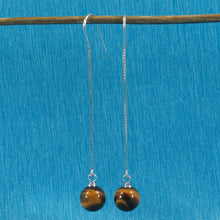 Load image into Gallery viewer, Solid Silver 925 Box Chain Hook 8mm Genuine Tiger Eye Dangle Earrings