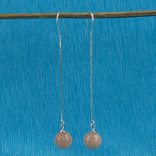 Load image into Gallery viewer, Solid Silver 925 Box Chain Hook 8mm Genuine Moonstone Dangle Earrings