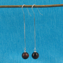 Load image into Gallery viewer, Solid Silver 925 Box Chain Hook 8mm Red Tiger Eye Dangle Earrings