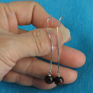 Solid Silver 925 Box Chain Hook 8mm Red Tiger Eye Dangle Earrings