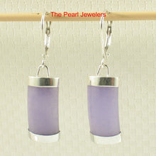 Load image into Gallery viewer, Solid Sterling Silver .925 Curved Lavender Jade Dangle Leverback Earrings