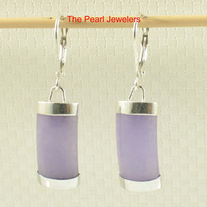 Solid Sterling Silver .925 Curved Lavender Jade Dangle Leverback Earrings