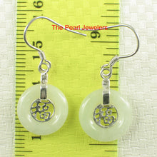 Load image into Gallery viewer, Solid Silver 925 Good Fortunes Celadon Green Jade Hook Dangle Earrings