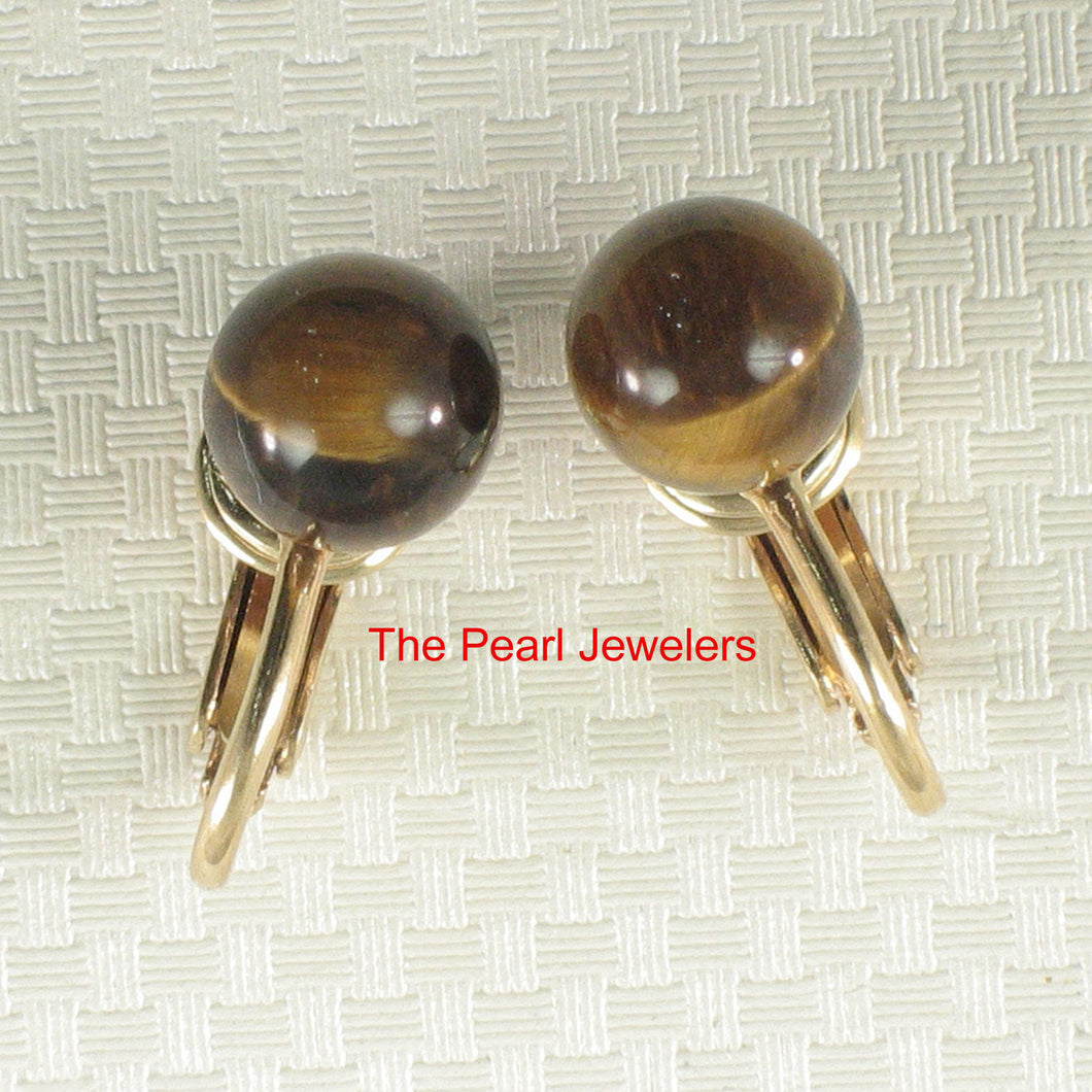 1/20 14k Yellow Gold Filled Non-Pierced Clip 8mm Tiger Eye Earrings