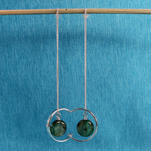 Green Kyanite Threader Earrings Sterling Silver, Long Chain Earrings