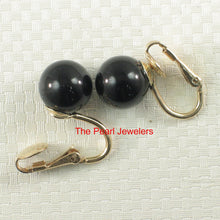 Load image into Gallery viewer, 1/20 14k Yellow Gold Filled Non-Pierced Clip Genuine Black Onyx Earrings