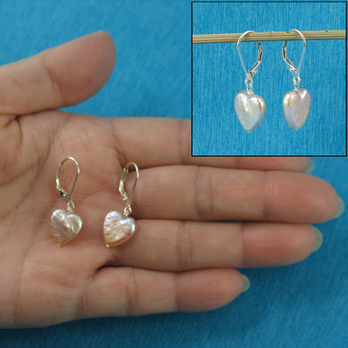 Solid Sterling Silver 925 Lever back Heart Shape Pink Coin Pearl Dangle Earrings