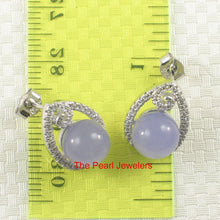 Load image into Gallery viewer, Solid Sterling Silver 925 Set 10mm Lavender Jade & Cubic Zirconia Stud Earrings