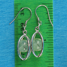 Load image into Gallery viewer, Solid Sterling Silver .925 Lucky Lanterns Genuine 8mm Prehnite Hook Earrings