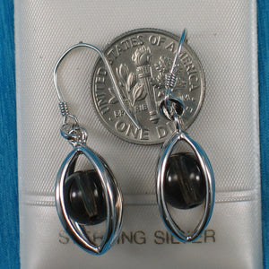 Solid Sterling Silver .925 Lucky Lanterns Genuine Smoke Quartz Hook Earrings