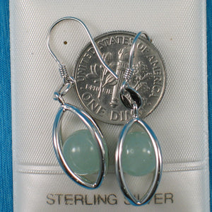 Solid Sterling Silver .925 Lucky Lanterns Genuine Aventurine Hook Earrings
