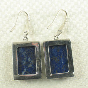 Solid Sterling Silver .925 Genuine Lapis Lazuli Antique Finish Hook Earrings